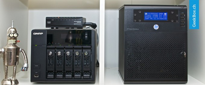 HP ProLiant N40L Server und QNAP TS-559 Pro+